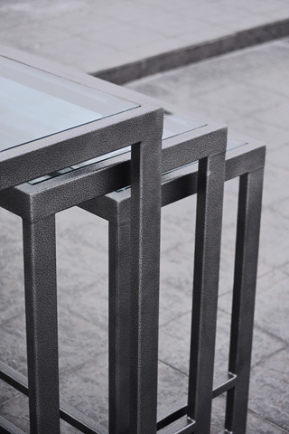 Beautiful ... Nesting Buffet Table Glass Top In Clear Finish ...